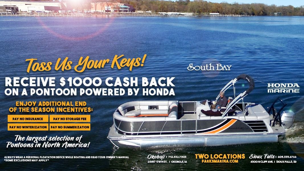 $1,000 Cash Back when purchase Pontoon with Honda Motor from Parks Marina