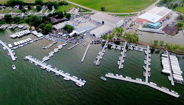 parks marina, okoboji overhead photo