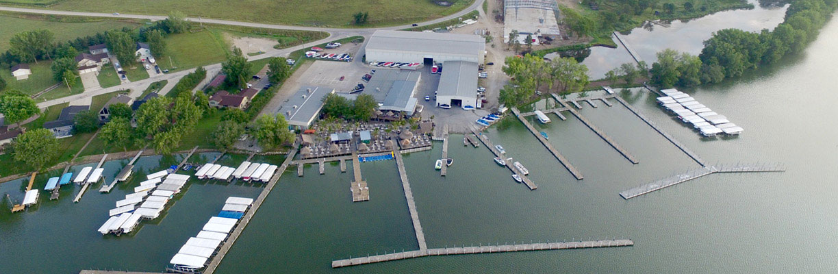 Aerial of Park's Marina in Okoboji Iowa