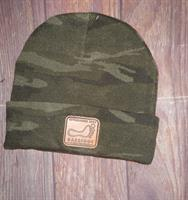 Leather Patch Beanie Camo